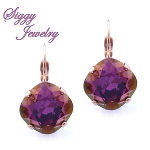 Swarovski Crystal Earrings, Lilac Shadow Drops